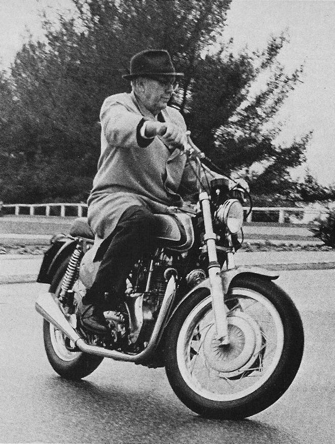 Clymer demonstrating one of his Indian badged imports to the press in the late 1960s. He still crackled with energy and knowledge. Clymer's joy of wheeling and dealing was obvious to the journalists on hand. Who knows, had he lived long enough maybe his final gamble would have paid off.