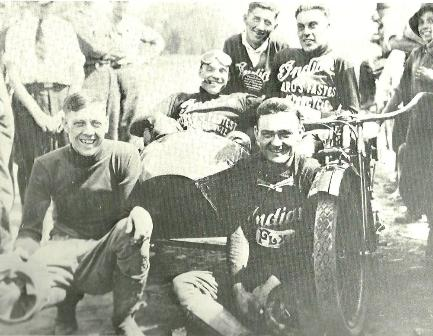 Clymer (left) poses with fellow sidecar racers Shrimp Burns (with goggles) John Lovett, John Seymour and Floyd Dreyer (sitting) at a 1920 national championship race in Denver.