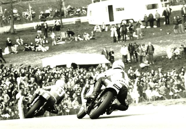 American team captain Kenny Roberts chases British team member Paul Smart at Brands Hatch during the 1974 Transatlantic Match Races. That year was one of the closest Match Race in the history of the popular racing series. The Brits beat the Yanks by just 15 points after six races. (The Jim Greening Collection)