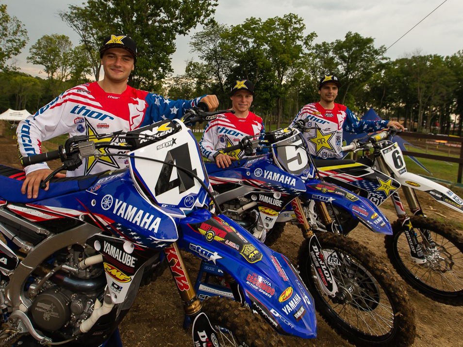 (Left to right) Cooper Webb, Alex Martin and Jason Anderson are representing America at the 2016 Motocross of Nations in Maggiora, Italy. (Photography by Rob Koy)