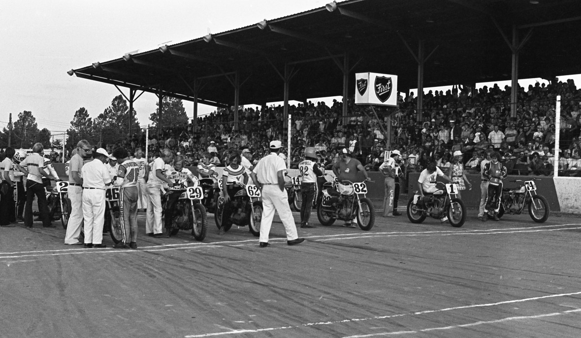 Terre Haute, Indiana 1976. AMA Grand National Motorcycle Race.