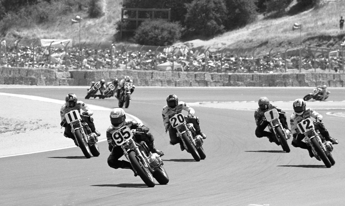 Matt Wait leads Harley-Davidson SuperTwins action at Laguna Seca in July of 1996.
