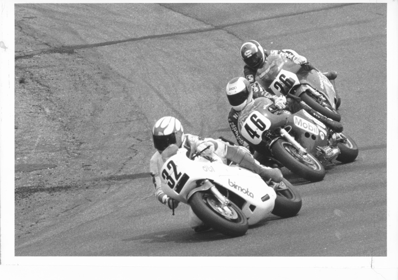 Battle of the Twins action with Dale Quarterley (32), Doug Brauneck (46) and Jimmy Adamo (26).