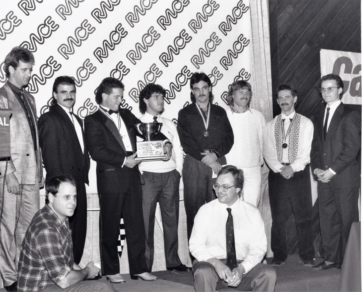 1989 Nat RACE Banquet top SBKers with Labrosse far right by Fra